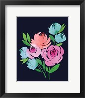 Framed Navy Floral Watercolor II