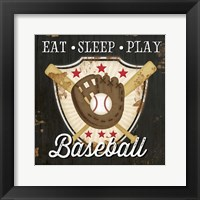 Framed Eat, Sleep, Play, Baseball