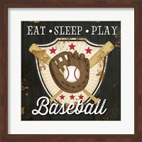 Framed Eat, Sleep, Play, Baseball