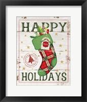 Framed Happy Holidays Stocking
