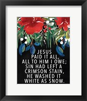 Framed Jesus Paid It All