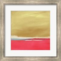 Framed Coral and Gold Landscape I
