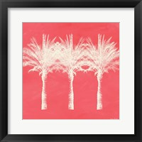 Framed Coral and Ivory Palm Trees