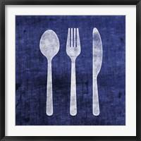 Framed Indigo Spoon Fork Knife