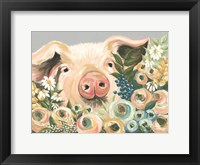 Framed Pig in the Flower Garden