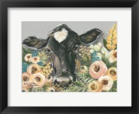 Framed Cow in the Flower Garden