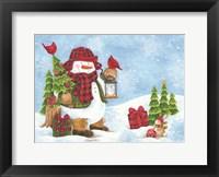 Framed Lodge Snowman