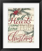 Framed All Hearts Come Home for Christmas Shiplap