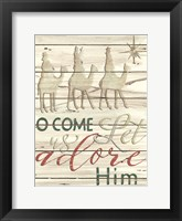Framed Come Let Us Adore Him Shiplap