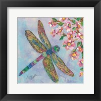 Framed Stained Glass Dragonfly