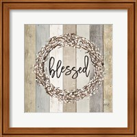 Framed Blessed Pussy Willow Wreath