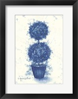 Framed Blue Double Sphere Topiary