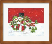 Framed Snowmen Family Merry Christmas