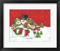 Framed Snowmen Family Merry Christmas