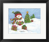 Framed Snowman with Ornament