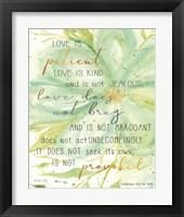 Framed Teal Love is Patient