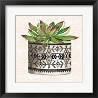 Framed Cactus Mud Cloth Vase I