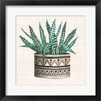Framed Cactus Mud Cloth Vase III