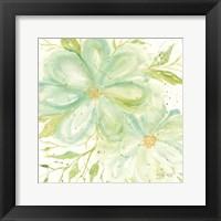 Framed Teal Big Blooms