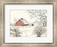Framed Winter Barn