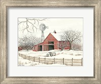 Framed Winter Barn with Windmill