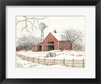 Framed Winter Barn with Windmill