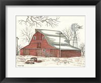 Framed Winter Barn with Pickup Truck