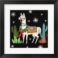 Framed Lovely Llamas V Christmas Black