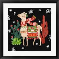 Framed Lovely Llamas IV Christmas Black