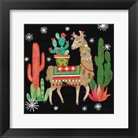 Framed Lovely Llamas III Christmas Black