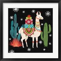Framed Lovely Llamas II Christmas Black