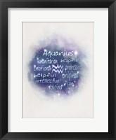 Framed Starlight Astology Aquarius