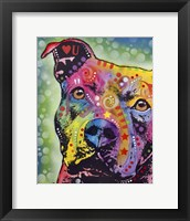 Framed Thoughtful Pit Bull White Bubble