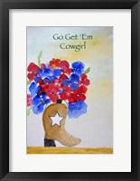 Framed Get 'Em Cowgirl card
