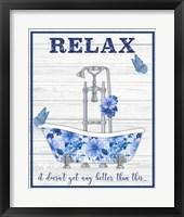 Framed Blue Floral Bath Art A