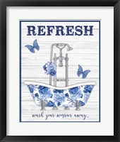 Framed Blue Floral Bath Art B