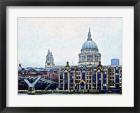 Framed Millennium Bridge to St Paul's Cathedral London