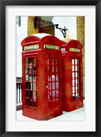 Framed Two Red Telephone Boxes