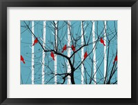Framed Red Burds And Brunches