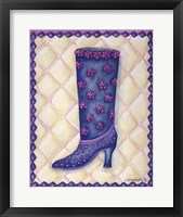 Framed Boots Blue With Pink Flowers Dots