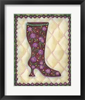 Framed Boots Magenta With Roses With Leaves