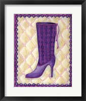 Framed Boots Purple With Tiny Flowers