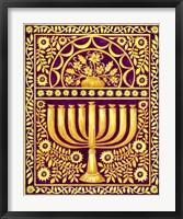 Framed Hanukah Menorah On Magenta
