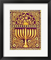 Framed Hanukah Menorah On Magenta