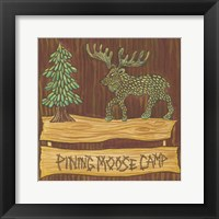 Framed Adirondack Pining Moose Camp AP