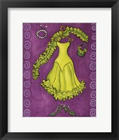Framed Paris Gowns Lime Green Ruffled