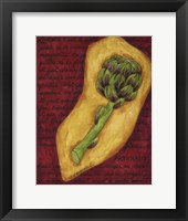 Framed Veggies On Red L Artichaut