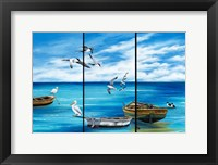 Framed Fishing Boats and Birds