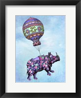 Framed Flying Rhino