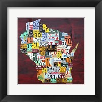 Framed Wisconsin Counties License Plate Map